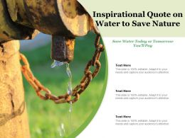 Inspirational Quote On Water To Save Nature