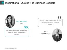 Inspirational Quotes For Business Leaders Ppt Design Templates