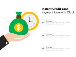 Instant Credit Loan Payment Icon With Clock