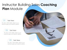 Instructor Building Sales Coaching Plan Module