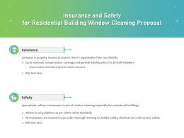 Insurance And Safety For Residential Building Window Cleaning Proposal Ppt Deck
