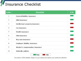 Insurance Checklist Powerpoint Slide Clipart