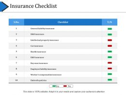 Insurance Checklist Ppt Example