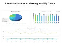 Insurance Dashboard Showing Monthly Claims