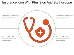 Insurance Icon With Plus Sign And Stethoscope