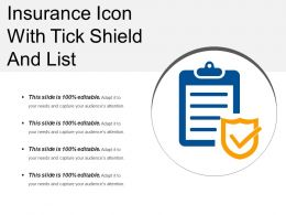 Insurance Icon With Tick Shield And List