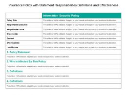 Insurance Policy With Statement Responsibilities Definitions And Effectiveness
