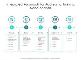 Integrated Approach For Addressing Training Need Analysis
