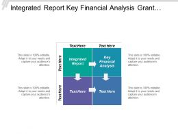 Integrated Report Key Financial Analysis Grant Funding System Implementation