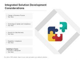 Integrated Solution Development Considerations
