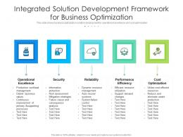 Integrated Solution Development Framework For Business Optimization