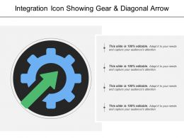 Integration Icon Showing Gear And Diagonal Arrow