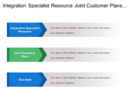 Integration Specialist Resource Joint Customer Plans Marketing Objective