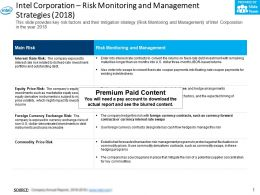 Intel Corporation Risk Monitoring And Management Strategies 2018