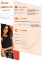 Interactive Resume Visual Template For Self Introduction