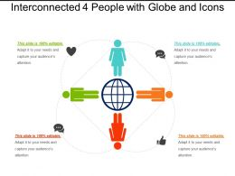 Interconnected 4 People With Globe And Icons