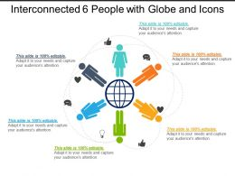 Interconnected 6 People With Globe And Icons