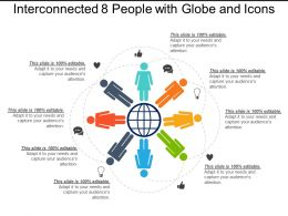 Interconnected 8 People With Globe And Icons