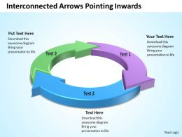 interconnected arrows pointing inwards in circle powerpoint templates images 1121