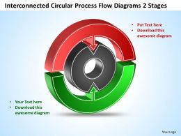 Interconnected Circular Process Flow Diagrams 2 Stages Templates ppt presentation slides 812