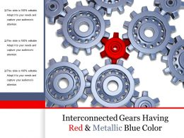 Interconnected Gears Having Red And Metallic Blue Color