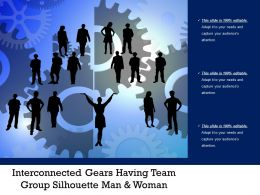 Interconnected Gears Having Team Group Silhouette Man And Woman