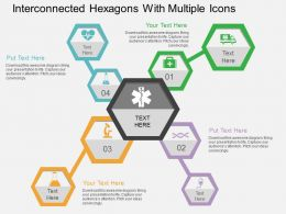 Interconnected Hexagons With Multiple Icons Flat Powerpoint Design