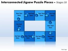 interconnected jigsaw puzzle pieces stages 10 powerpoint templates