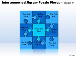 interconnected jigsaw puzzle pieces stages 9 powerpoint templates