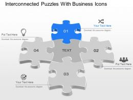 Interconnected Puzzles With Business Icons Powerpoint Template Slide