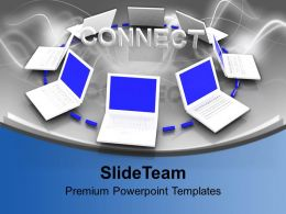 Interconnected White Laptops Internet Network Powerpoint Templates Ppt Themes And Graphics 0113