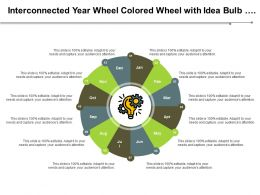 Interconnected Year Wheel With Idea Bulb And Gear