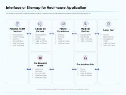 Interface Or Sitemap For Healthcare Application Personal Health Ppt Shows