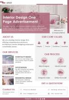 Interior Design One Page Advertisement Presentation Report Infographic PPT PDF Document