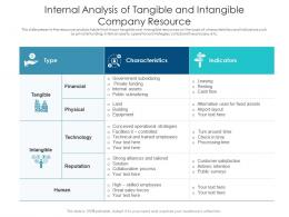 Internal Analysis Of Tangible And Intangible Company Resource