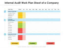 Internal Audit Work Plan Sheet Of A Company