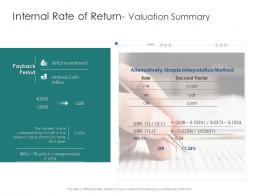 Internal Rate Of Return Valuation Summary Infrastructure Engineering Facility Management Ppt Topics