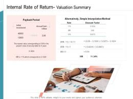 Internal Rate Of Return Valuation Summary Infrastructure Management Services Ppt Graphics