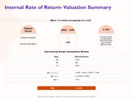 Internal Rate Of Return Valuation Summary Nearest Ppt Powerpoint Presentation Summary