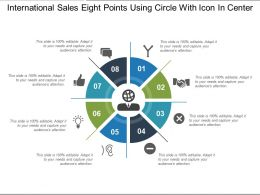 International Sales Eight Points Using Circle With Icon In Center