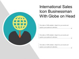 International Sales Icon Businessman With Globe On Head