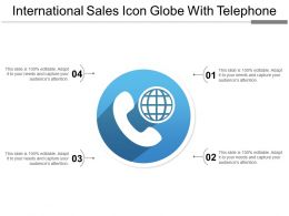International Sales Icon Globe With Telephone
