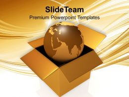 International Shipping Golden Globe In Box Powerpoint Templates Ppt Themes And Graphics 0213