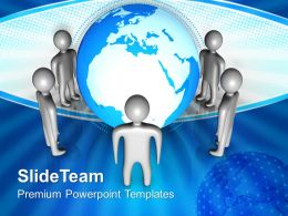 Internet Business Strategy Group Of People Standing Around Globe Leadership Ppt Slide Powerpoint