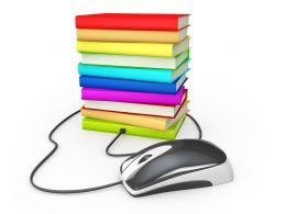 Internet Education Books Mouse Stock Photo