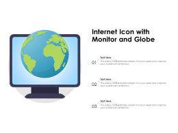 Internet Icon With Monitor And Globe