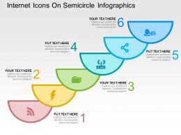 Internet Icons On Semicircle Infographics Flat Powerpoint Design