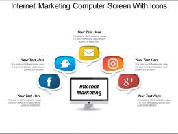 Internet Marketing Computer Screen With Icons