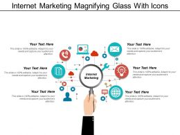 Internet Marketing Magnifying Glass With Icons