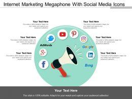 Internet Marketing Megaphone With Social Media Icons